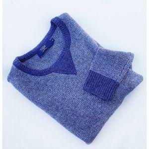 Men's Tweed Blue Lambswool Crewneck Sweater M